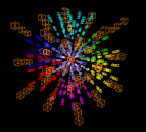 This is a computational representation of a 5-dimensional Rubik's Cube.  People do this for fun. http://www.gravitation3d.com/magiccube5d/